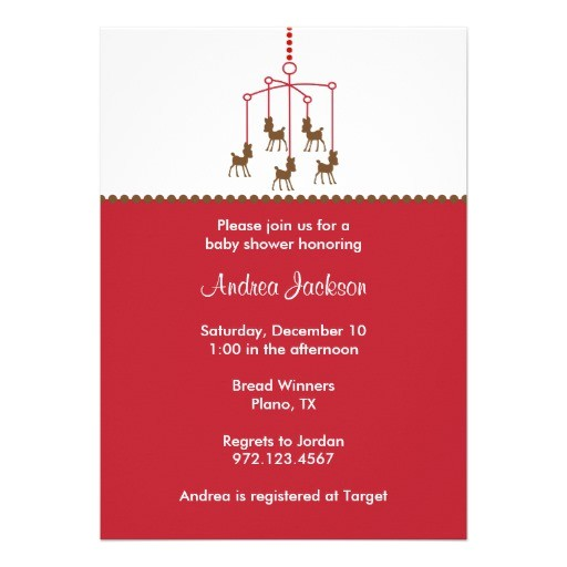 deer mobile baby shower invitations