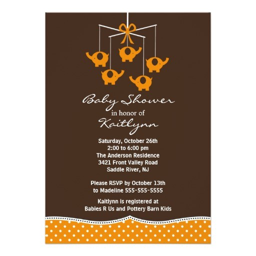 orange elephant mobile baby shower invitation