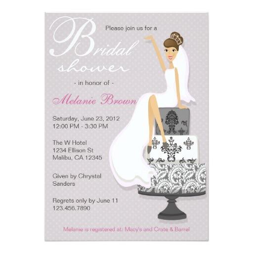 chic pink modern bride contemporary bridal shower invitation