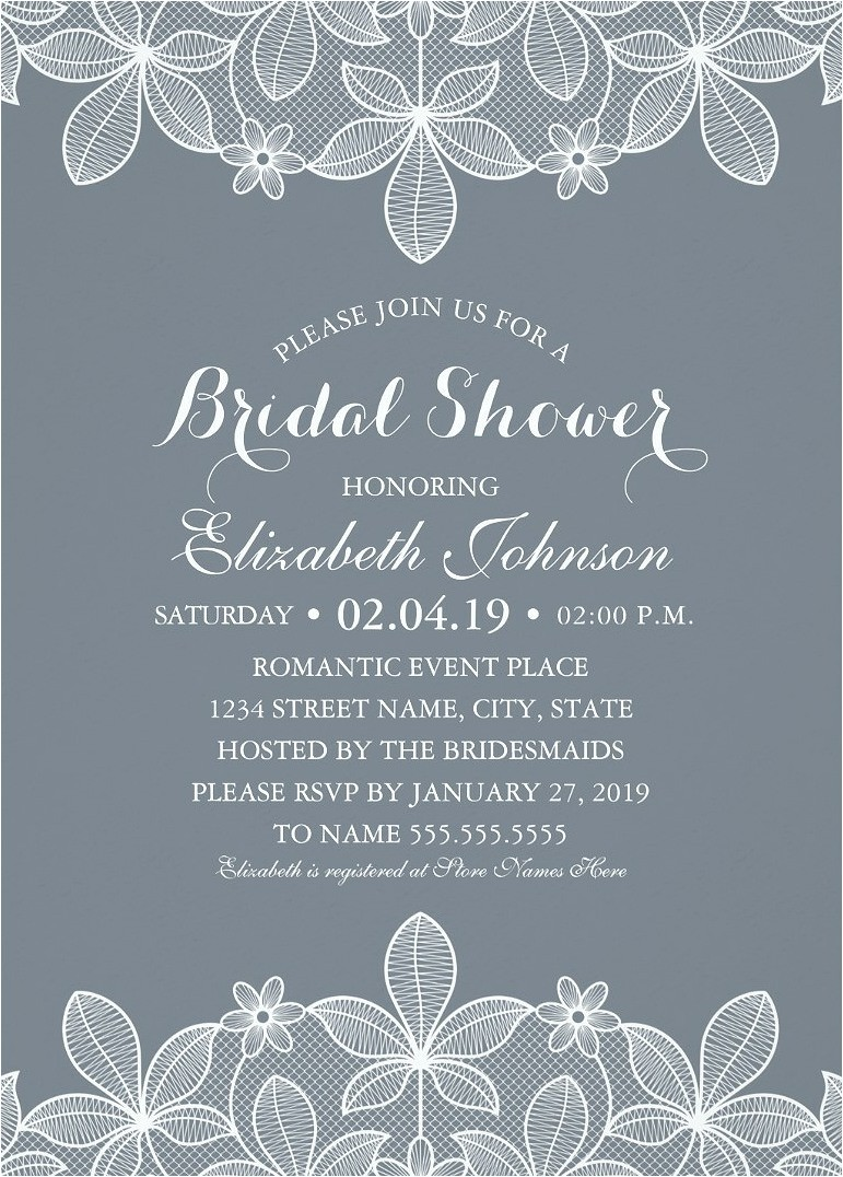 lace bridal shower invitations modern luxury cards