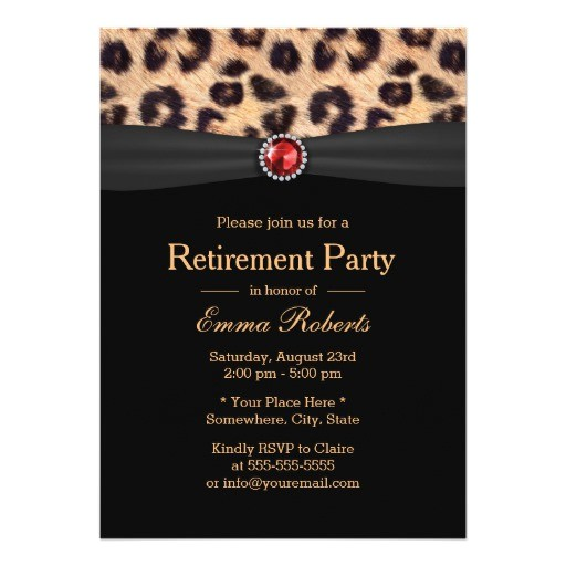 modern leopard print ruby gems retirement party invitation