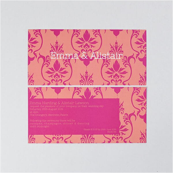 modern luxury wedding invitation in pink with damask print