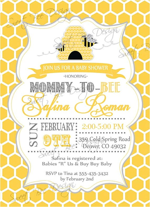 bee baby shower invitation mommy to bee