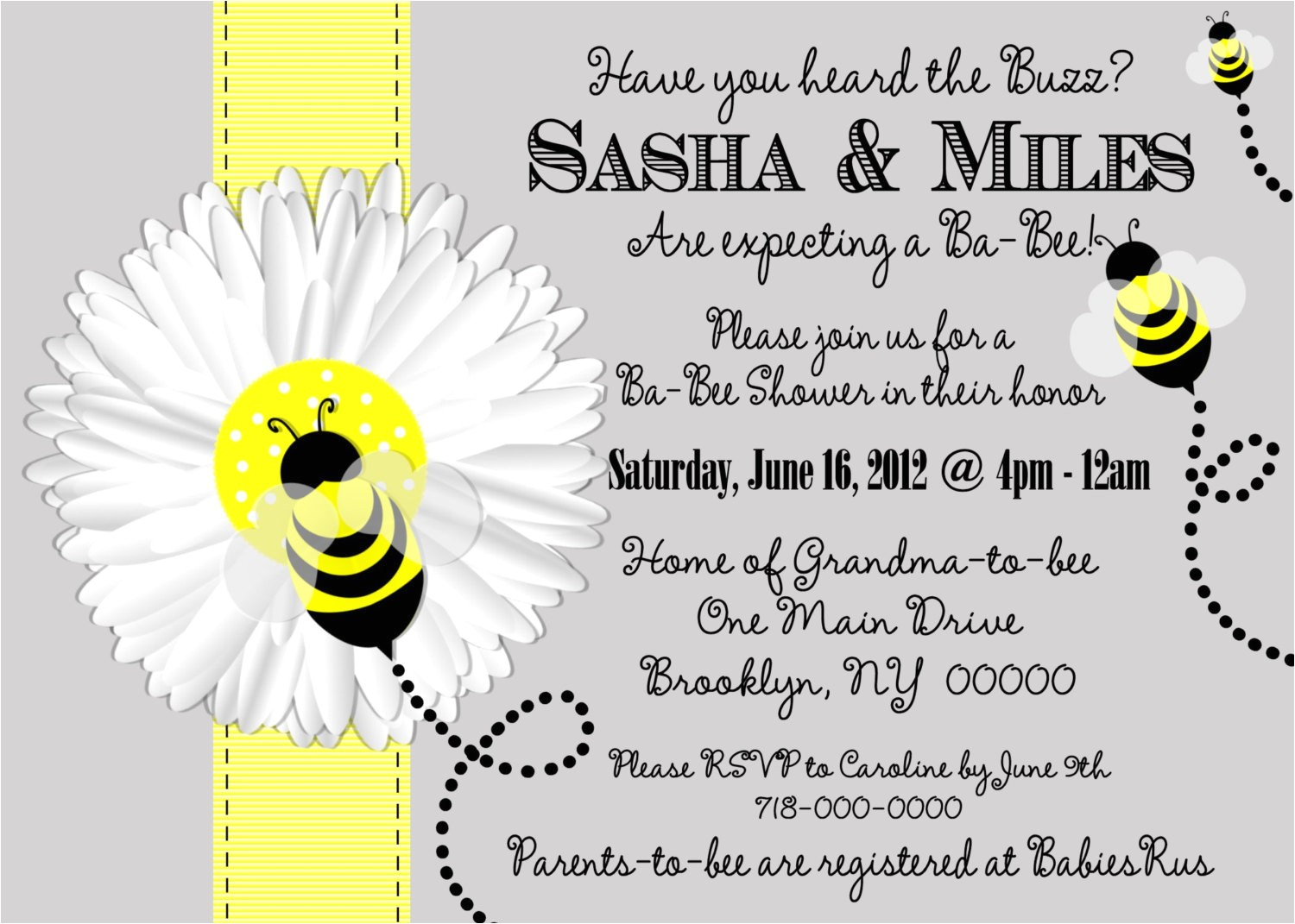 mom to bee baby shower invitation bee