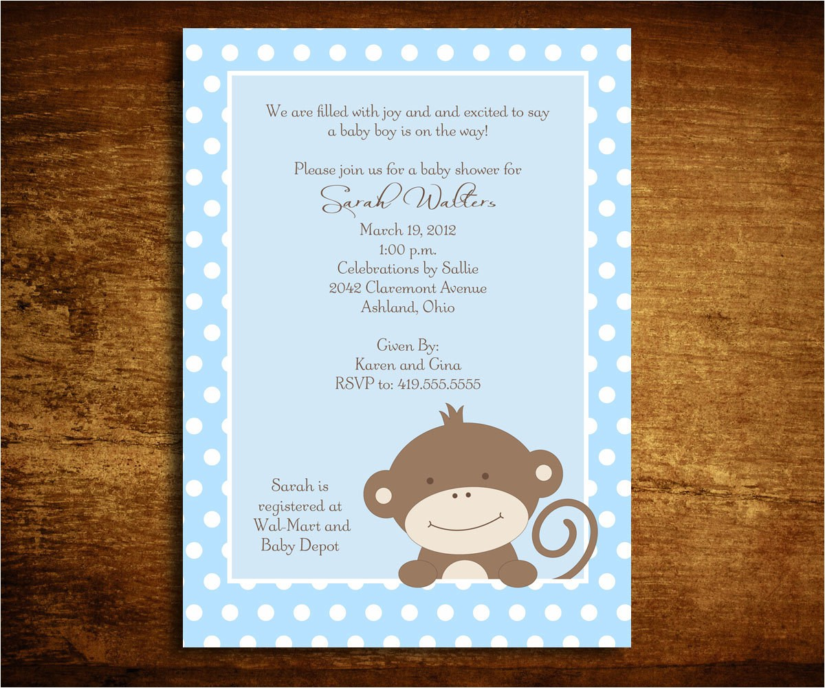 baby boy monkey baby shower invitations