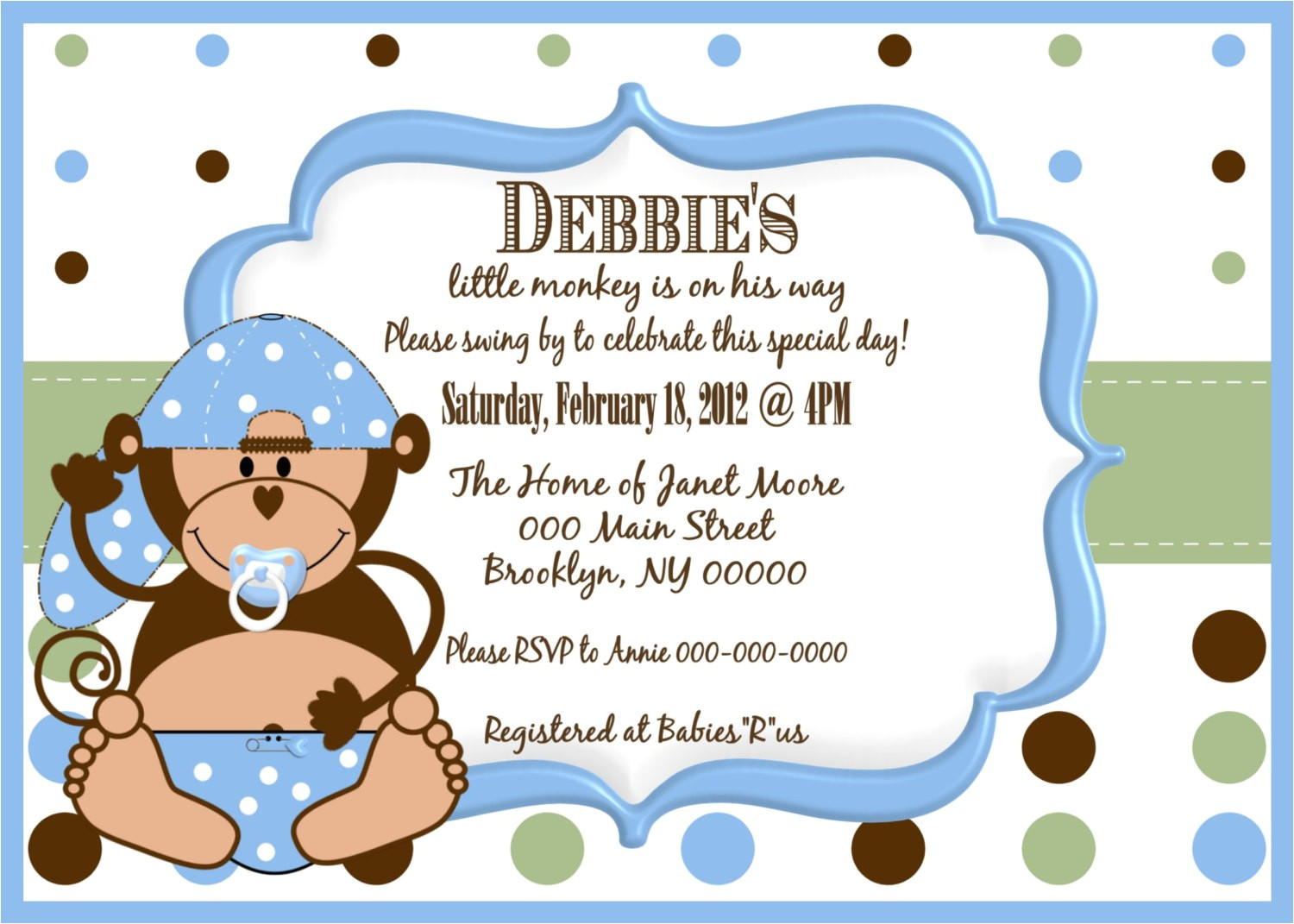 little monkey boy baby shower invitation