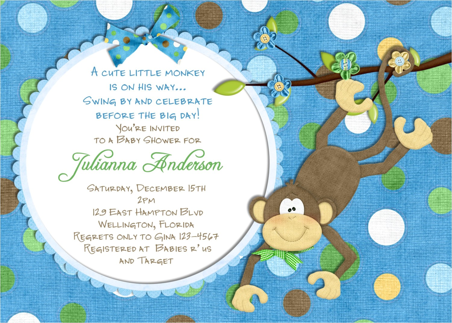 monkey baby shower invitation baby boy