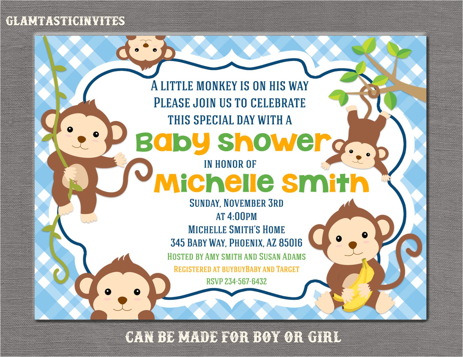 monkey baby shower invitation boy baby