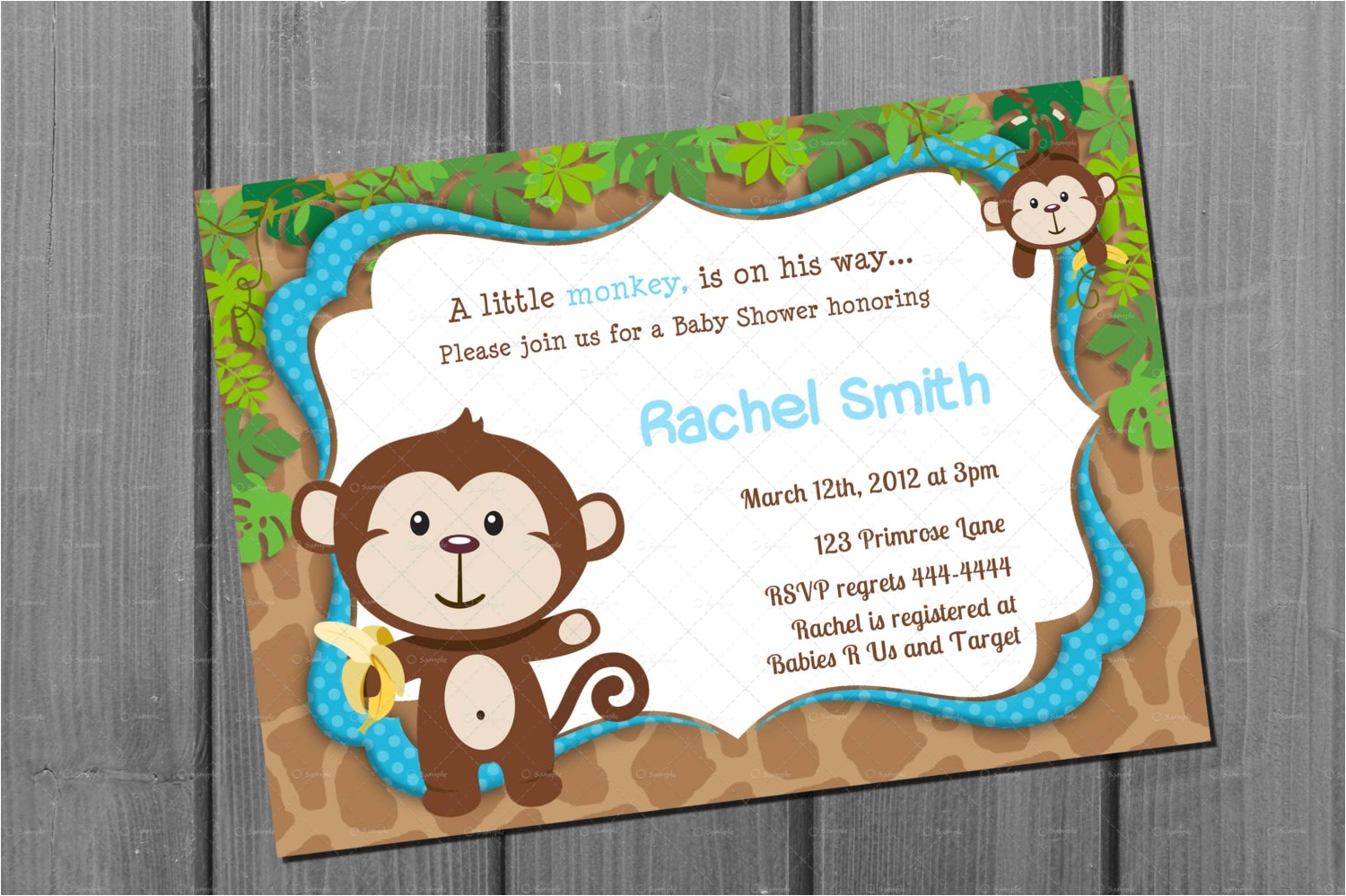 monkey blue boy baby shower invitation