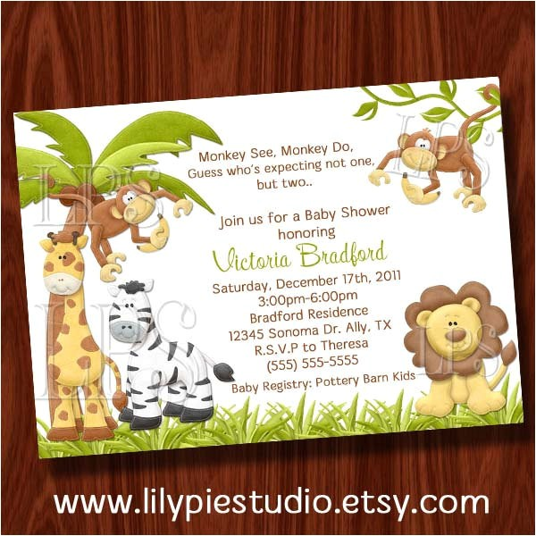 twin monkey boy baby shower invitation