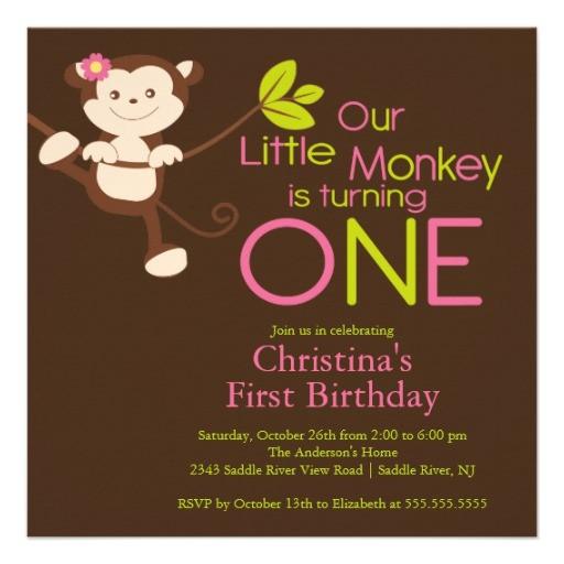 cute modern monkey 1st birthday party invitations 161737113955682490