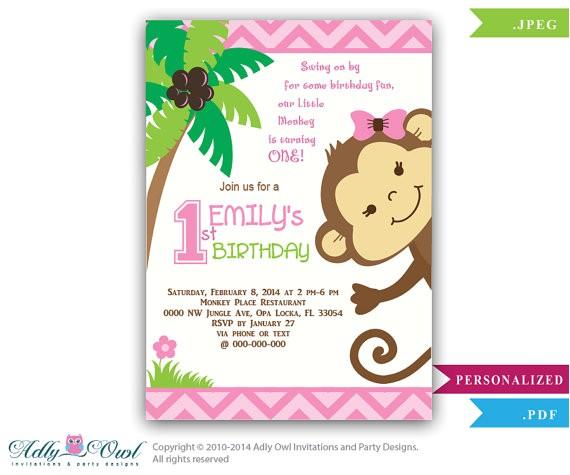 girl monkey birthday invitation jungle
