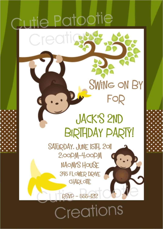 monkey birthday invitation twins 1st