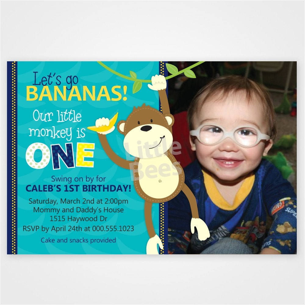 monkey first birthday invitation