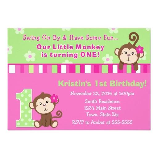 monkey girl 1st birthday invitation 5x7 card 256066359811949145