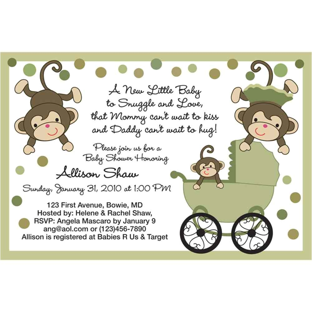 free printable baby shower monkey invitations theme