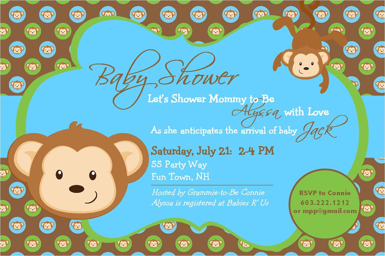 baby shower invitation monkey printable