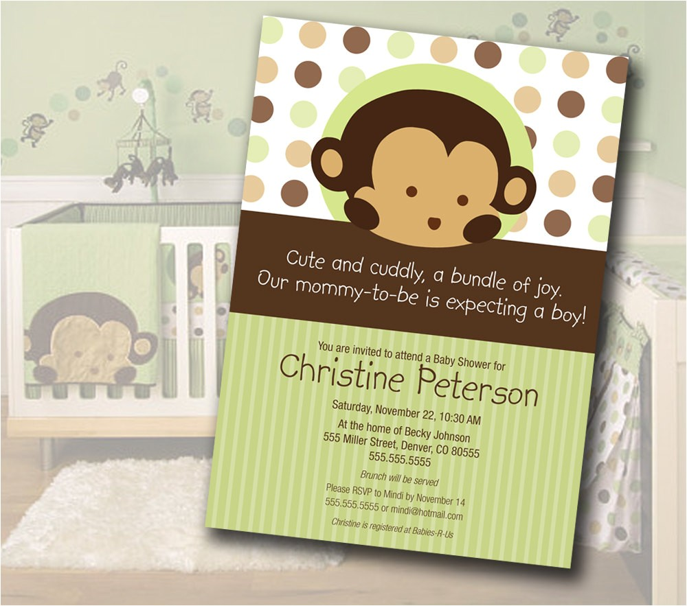 monkey baby shower invitation matches