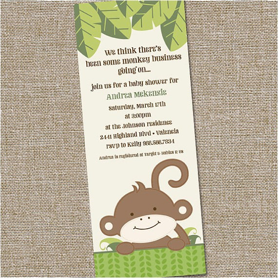 monkey theme baby shower invitation