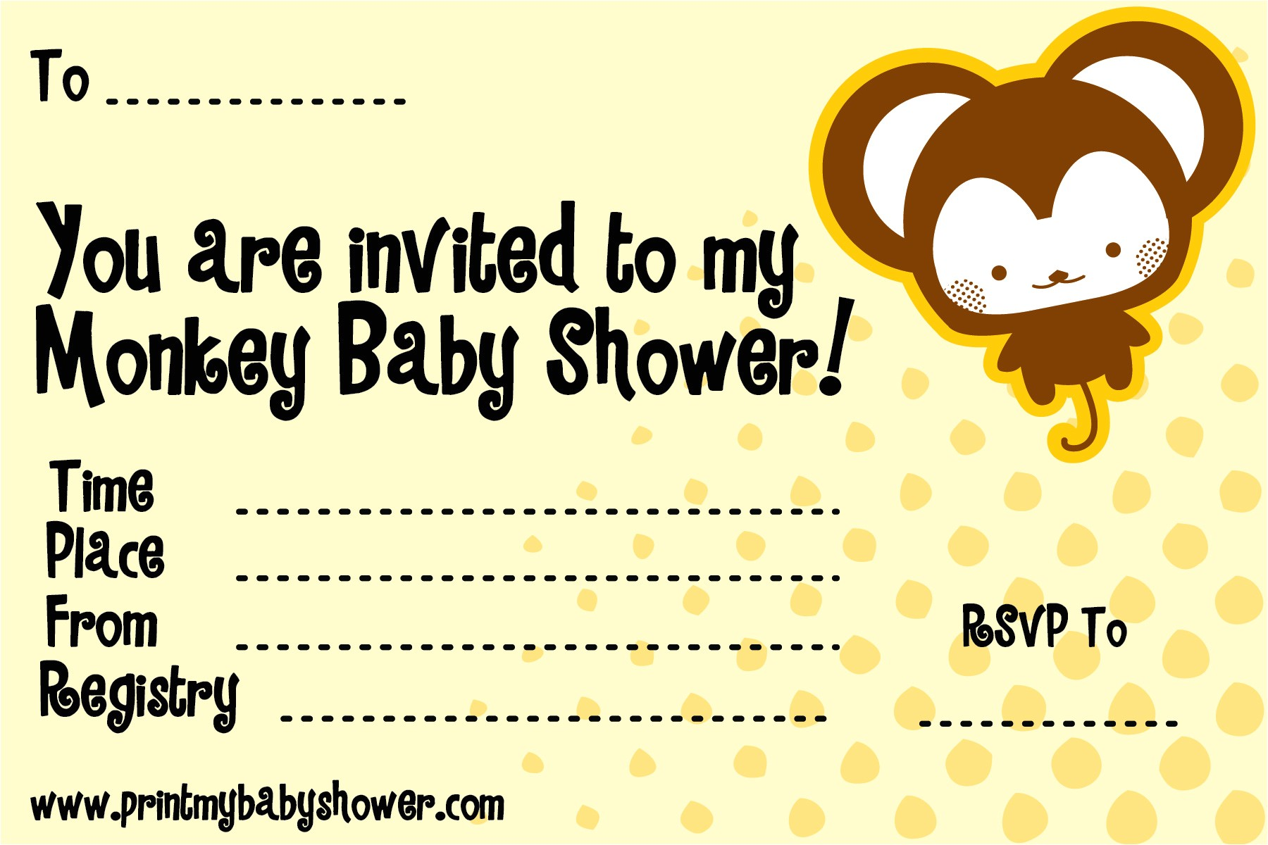 monkey themed baby shower invitations