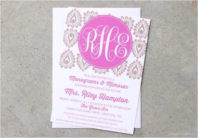 invitations monograms and mimosas invites monogram shower bridal wedding shower shower invitations damask invites monogram invites