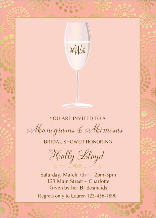 Monogram and Mimosa Bridal Shower Invitations Monogram and Mimosas Bridal Shower Invitation Pink Gold