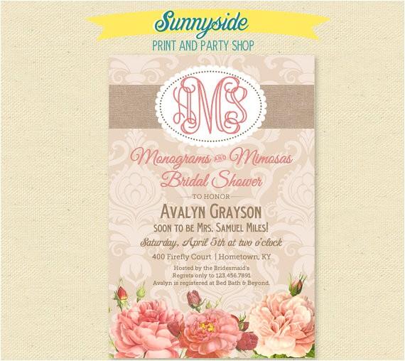 monograms mimosas bridal shower