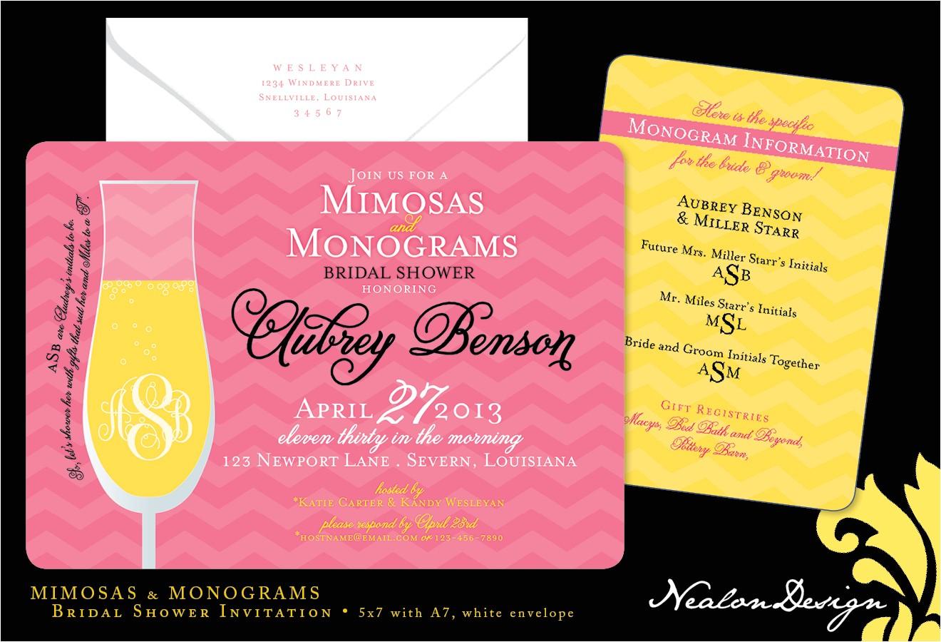 mimosas monograms bridal shower