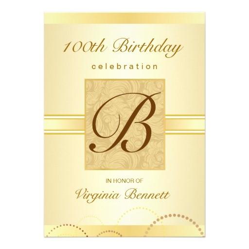 100th birthday party gold damask monogram invitation 161994114672131726