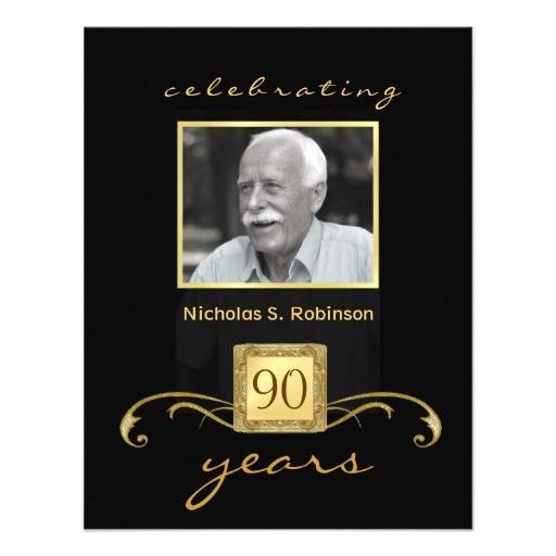 90th birthday party invitations formal monogram 161059407045214561