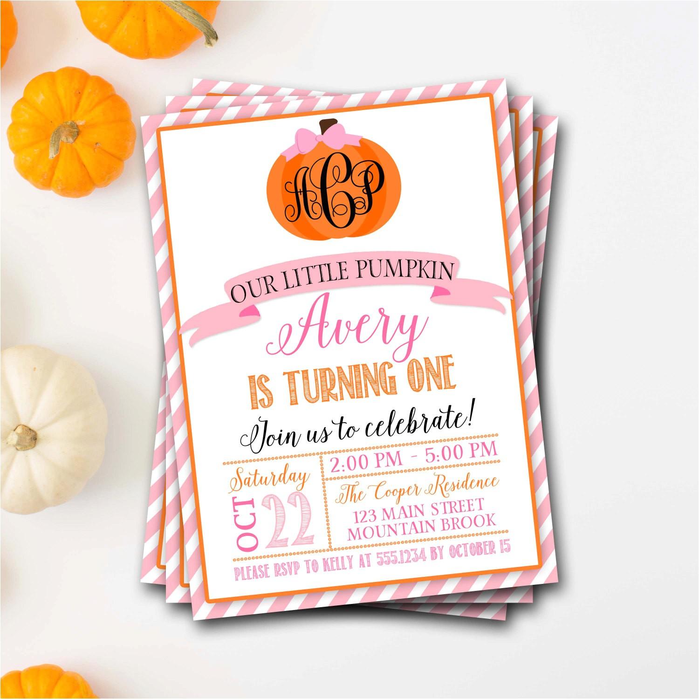 monogram birthday invitations pumpkin birthday invitation pumpkin monogram birthday invitation