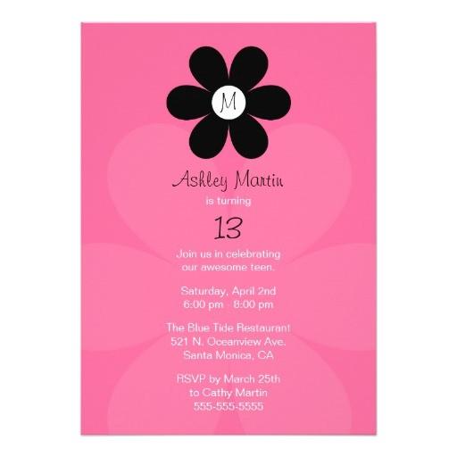 monogram teen girl birthday party invitation 161860613707525178