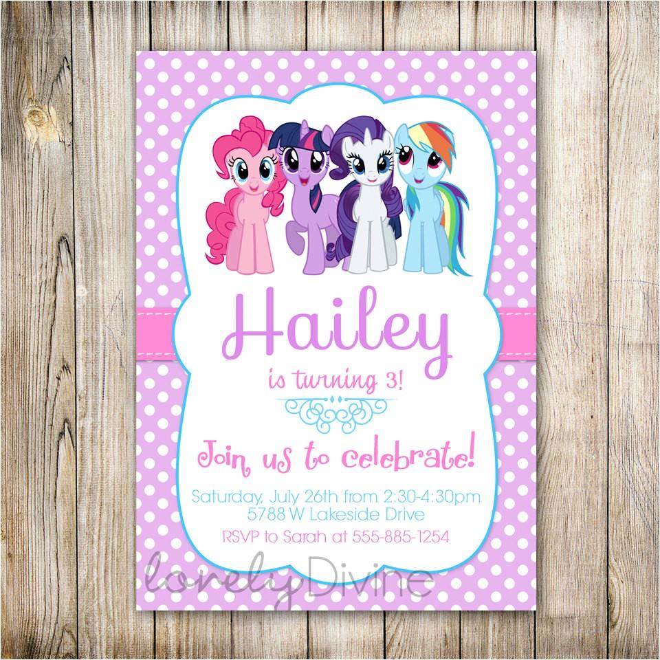 my little pony personalized birthday invitations