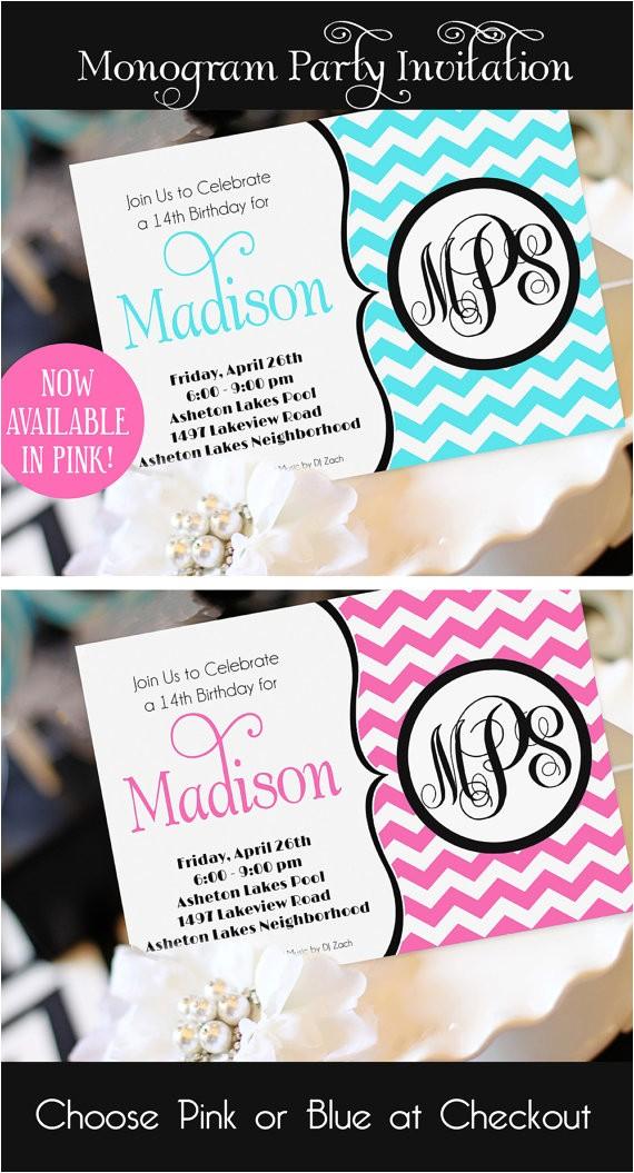 Monogram Birthday Invitations Teen Girl Birthday Invitation Monogram Birthday Invitation
