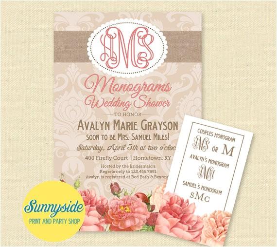 monogram bridal shower invitation burlap