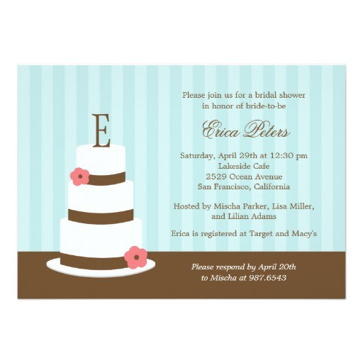 monogram cake bridal shower invitation blue 161597075556846548