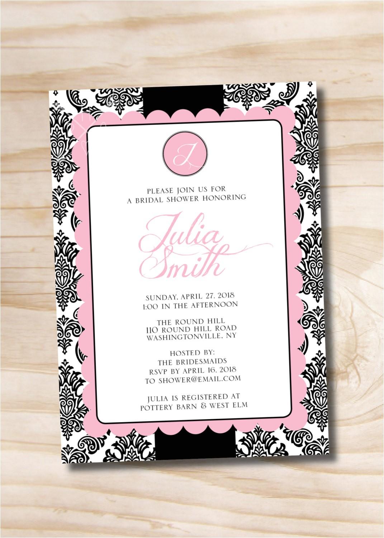 monogram damask bridal shower invitation