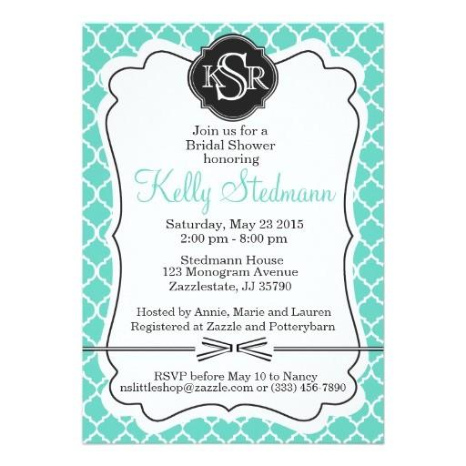 monogram tiffany blue bridal shower invitation 256693628078250625