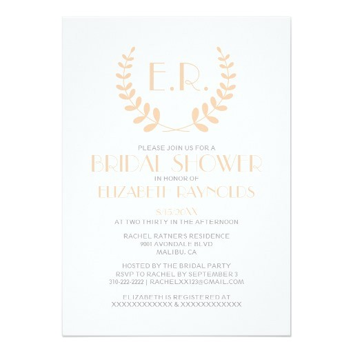 peach monogram bridal shower invitations 161094607391948942