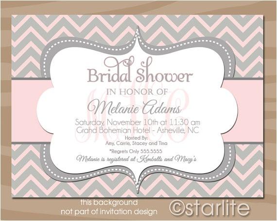 monogram bridal shower invitation pink