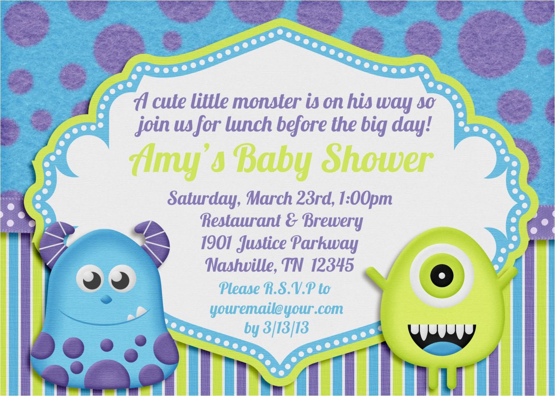 little monster baby shower invitation
