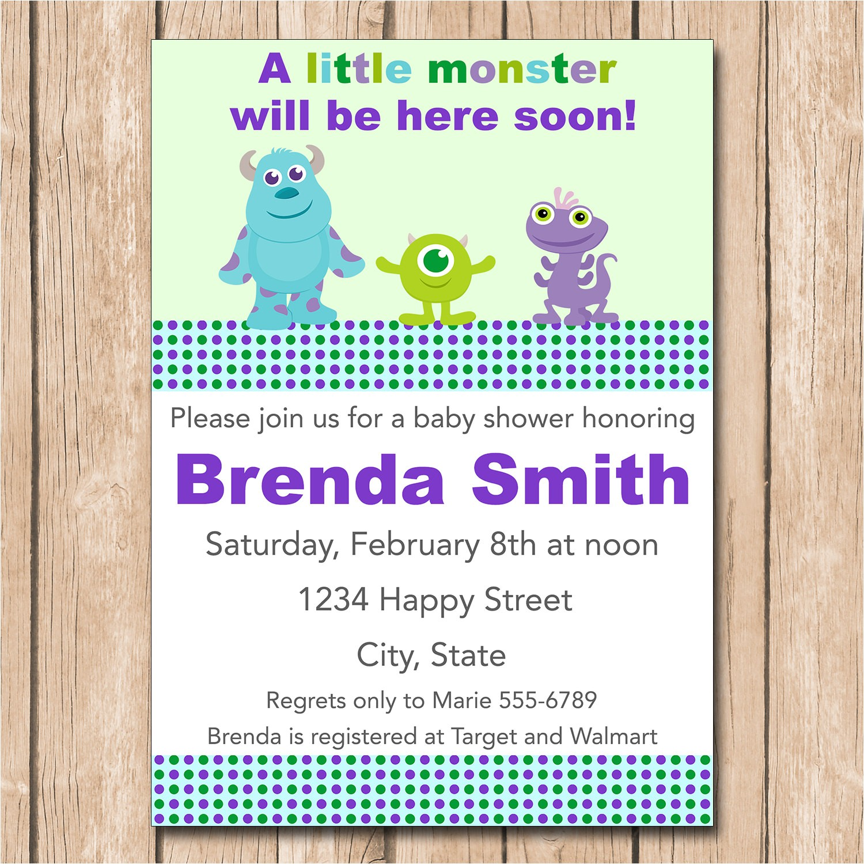 mini monsters inc baby shower invitation