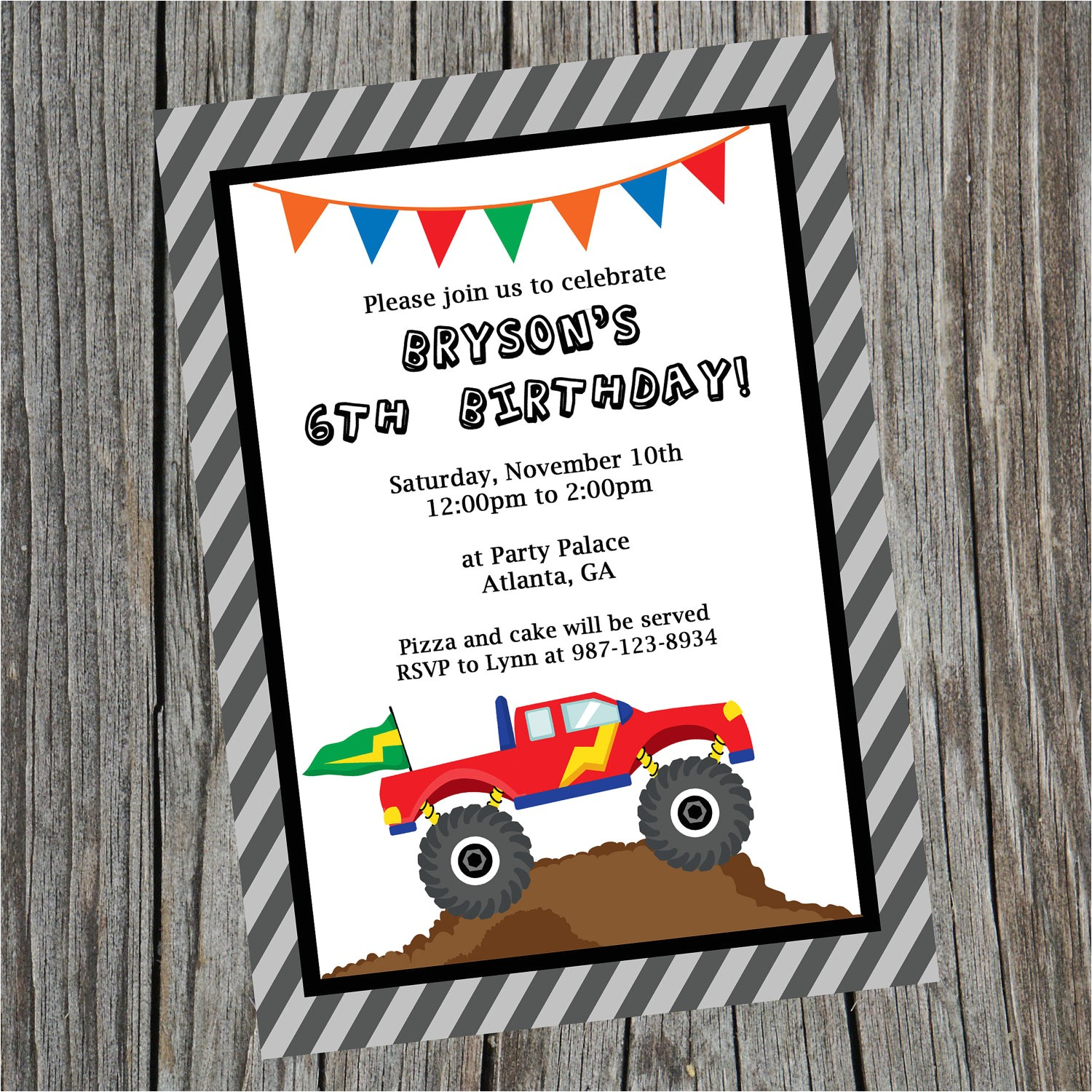 custom printable monster truck birthday