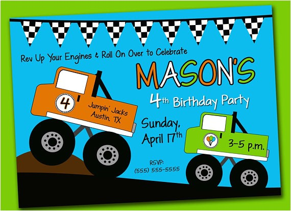 printable digital monster truck birthday