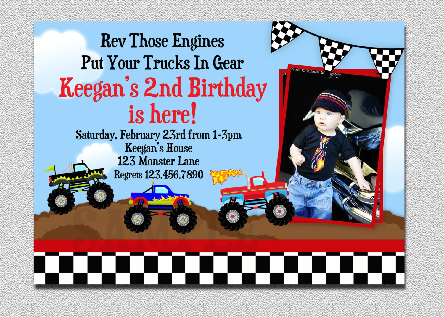 Monster Truck Birthday Invitations Party City Monster Truck Birthday Party Invitations Various