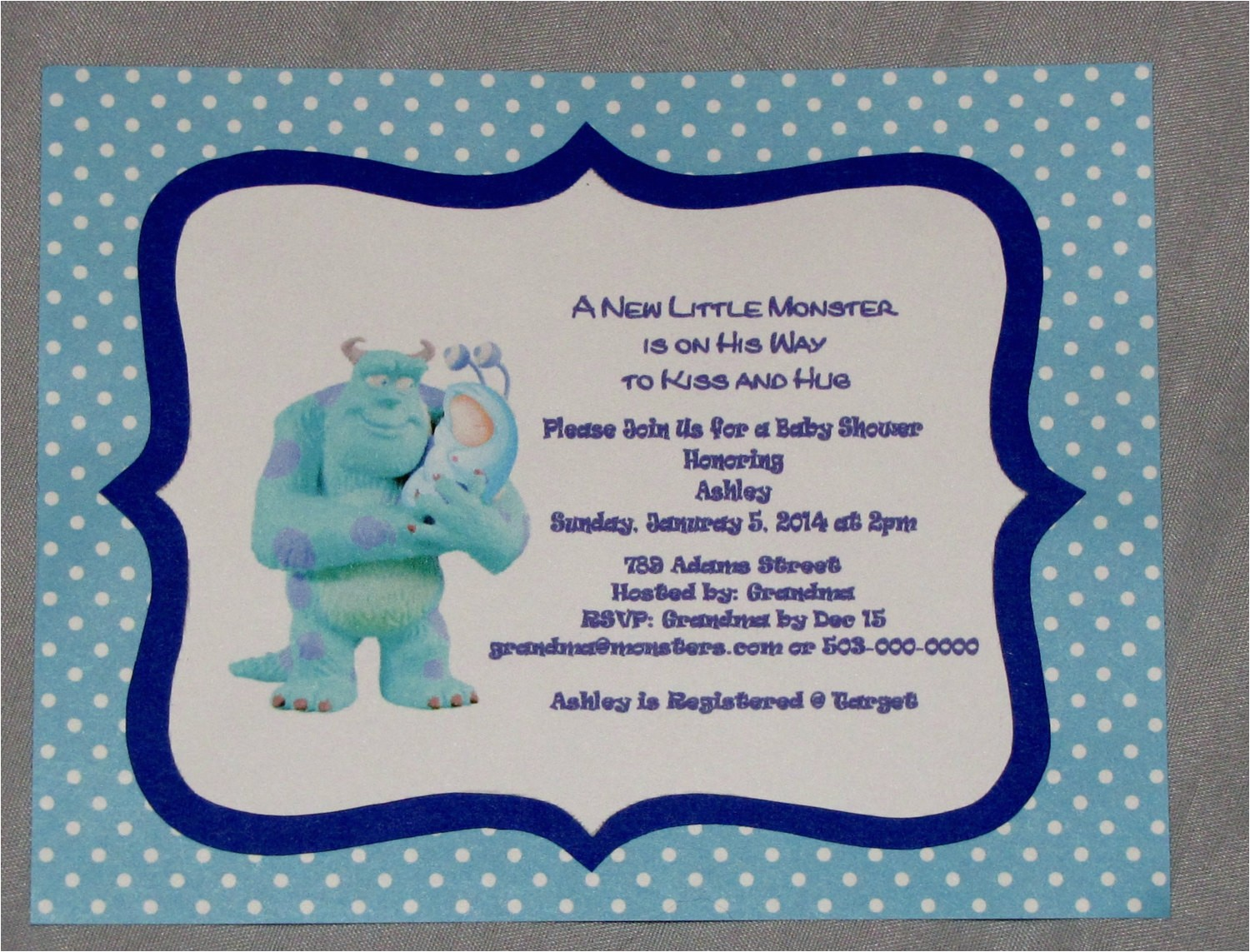 monsters inc baby shower invitations boy