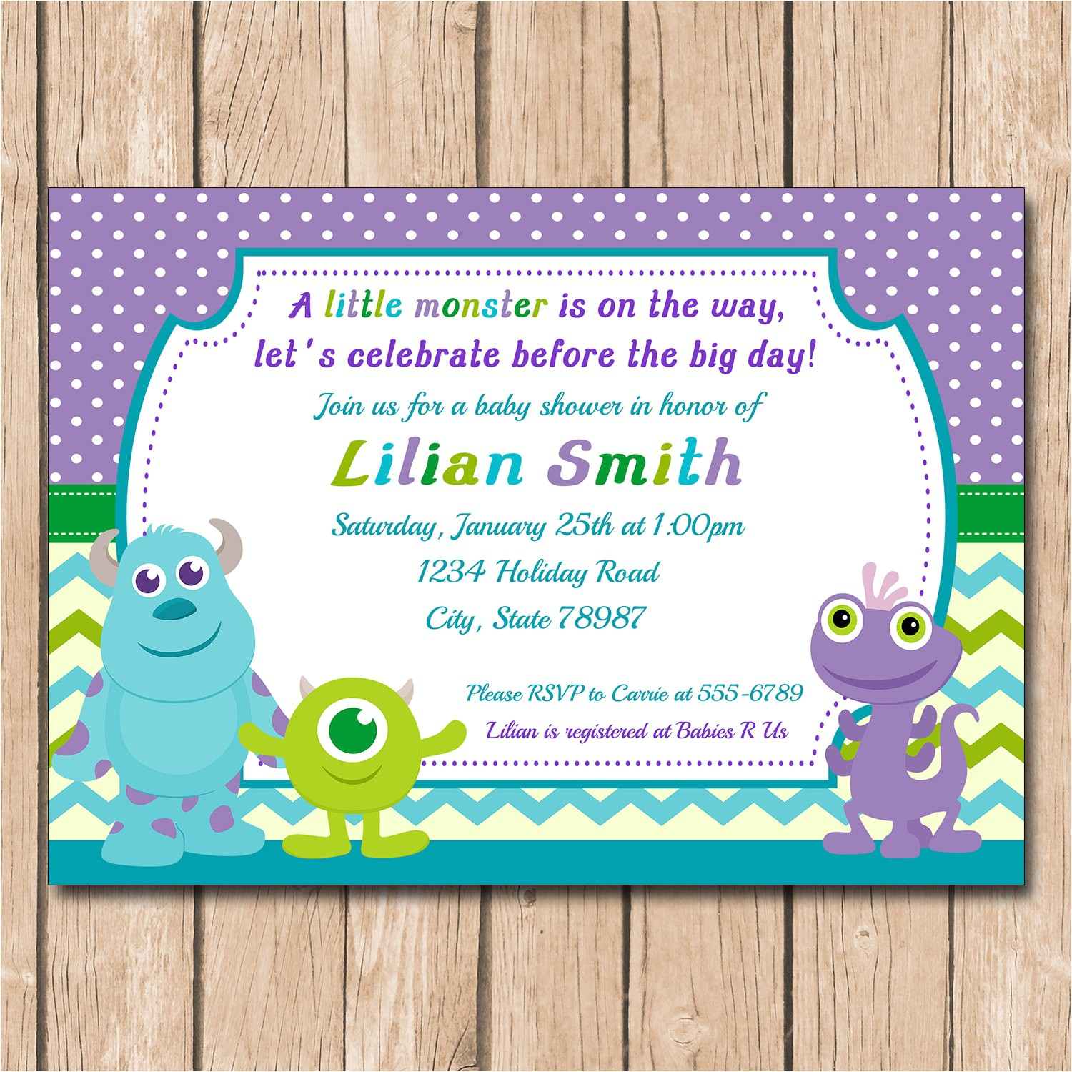 mini monsters inc baby shower invitation