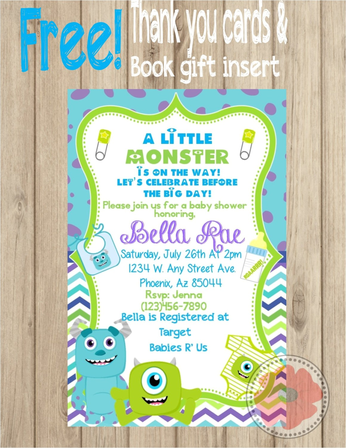 monsters inc baby shower invitation diy