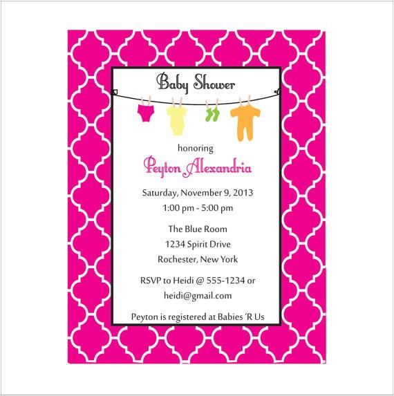 moroccan baby shower invitation clothesline invitation 2