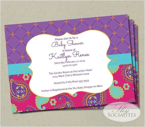 moroccan baby shower invitation fuchsia